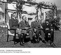 0113965 © Granger - Historical Picture ArchiveCASABLANCA CONFERENCE.   Allied leaders photographed at the conference in Casablanca, Morocco, 14-27 January 1943, during World War II. From left: General Henri Giraud, commander of French forces in North Africa; U.S. President Franklin Delano Roosevelt; General Charles de Gaulle, leader of the Free French; and British Prime Minister Winston Churchill.