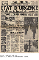 0113967 © Granger - Historical Picture ArchiveALGERIAN WAR, 1961.   Front page of the French newspaper 'L'Aurore,' 23 April 1961, reporting on the attempted coup d'etat by French army officers in Algeria, known as 'the generals' putsch,' and the resulting state of emergency declared by the government of President Charles de Gaulle.