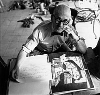 0114533 © Granger - Historical Picture ArchiveLE CORBUSIER (1887-1965).   Assumed name of Charles Edouard Jeanneret-Gris. Swiss architect and city planner, in his workshop in Paris, France. Photograph by Michael Sima, c1953.