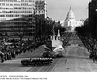 0124376 © Granger - Historical Picture ArchiveINAUGURATION, 1961.   Inaugural parade for President John F. Kennedy, featuring a replica of the PT-109 commanded by Kennedy in World War II. Photograph, Washington, D.C., 20 January 1961.