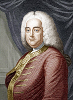 0125601 © Granger - Historical Picture ArchiveGEORGE FREDERICK HANDEL   (1685-1759). German (naturalized British) composer. Color line engraving, 18th century.
