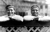 0127221 © Granger - Historical Picture ArchiveDOUGLAS FAIRBANKS   (1883-1939). American actor. With his son, Douglas Fairbanks Jr. (1909-2000) in 1923.