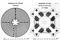0129432 © Granger - Historical Picture ArchiveVILLARD DE HONNECOURT  (c1225-c1250). French architect. Sketch of the labyrinth in the Chartres Cathderal (left) and a floor plan of the Cathedral of Notre Dame de Laon.