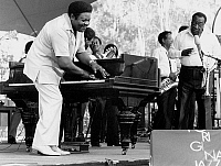 0129897 © Granger - Historical Picture ArchiveFATS DOMINO (1928- ).   Antoine Dominique Domino. American musician. Domino on stage during a Jazz festival in Finland, 6 July 1985.