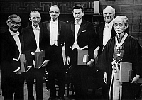 0129989 © Granger - Historical Picture ArchiveNOBEL PRIZE WINNERS, 1968.   From left to right: Har Gobind Khorana (U.S., medicine); Robert Holley (U.S., medicine); Luis Walter Alvarez (U.S., physics); Marshall W. Nirenberg (U.S., medicine); Lars Onsager (U.S., chemistry); and Yasunari Kawabata (Japan, literature). Photograph, 10 December 1968.