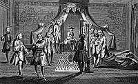 0130893 © Granger - Historical Picture ArchiveFREEMASON INITIATION.   Freemason ceremony for the initiation of new members. The inductee prepares to be lain on a drawing of a coffin, with his face covered with a bloody cloth. Line engraving, c1775.