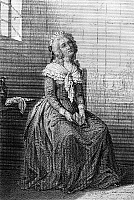 0130902 © Granger - Historical Picture ArchiveMADAME ELIZABETH (1764-1794).   Princess Elizabeth of France, known as Madame Elizabeth. Youngest sister of King Louis XVI, in prison before her execution during the French Revolution. Line engraving.