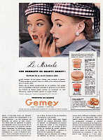 0131126 © Granger - Historical Picture ArchiveCOSMETICS ADVERTISEMENT.   French advertisement for Gemey beauty products, 1953.