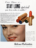 0131128 © Granger - Historical Picture ArchiveCOSMETICS ADVERTISEMENT.   French advertisement for Helena Rubinstein lipstick, 1952.