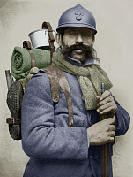 0133473 © Granger - Historical Picture ArchiveWORLD WAR I: SOLDIER.   A French soldier in uniform, carrying a backpack and a rifle. Photographed during World War I, 1914-1918, and colored at a later date.