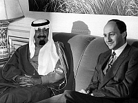 0133845 © Granger - Historical Picture ArchiveABDALLAH D'ARABIE SAOUDITE.   crown prince of Arabia Saudi Abdallah Ibn Abdul Aziz Al Saoud (future king of Arabia Saudi) with Laurent Fabius, french prime minister, on january 28, 1985 in Paris. Full credit: AGIP - Rue des Archives / Granger, NYC -- All Rights Reserved.