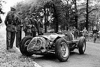 0133883 © Granger - Historical Picture ArchiveACCIDENT OF FANGIO.   Damaged car of racing driver Fangio after crash during race in Monza june 1952. Full credit: AGIP - Rue des Archives / Granger, NYC -- All rights reserved.