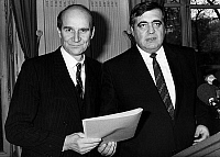 0133957 © Granger - Historical Picture ArchiveADRIEN ZELLER AND PHILIPPE SEGUIN.   Adrien Zeller, state secretary and Philippe Seguin social affair minister, presenting a plan to re-form French national health and pensions organization, november 18, 1986. Full credit: AGIP - Rue des Archives / Granger, NYC -- All rights reserved.
