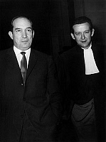 0133986 © Granger - Historical Picture ArchiveBEN BARKA.   Marcel Leroy Finville (l) and his lawyer Maggiant arriving at the law court in Paris for the Ben Barka trial, october 1966. Full credit: AGIP - Rue des Archives / Granger, NYC -- All Rights Reserved.