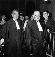 0134064 © Granger - Historical Picture ArchiveERIC PEUGEOT.   Lawyers Rene Floriot and Jean-LouisTixier Vignancour at trial of Raymond Rolland and Pierre Larcher kidnappers of Eric Peugeot october 29, 1962. Full credit: AGIP - Rue des Archives / Granger, NYC -- All rights reserved.