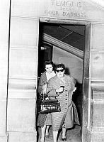 0134075 © Granger - Historical Picture ArchiveJACQUES FESCH.   Jacques Fesch trial (he killed a policeman) France : his wife Pierrette and his mother Mrs Polack leaving courtroom after witnessing april 2, 1957. Full credit: AGIP - Rue des Archives / Granger, NYC -- All rights reserved.