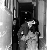0134079 © Granger - Historical Picture ArchiveJACQUES FESCH.   cross-examination of Jacques Fesch on march 3, 1954, here with his wife Pierrette. On febraury 25, 1954, Jacques Fesch killed a policeman during a robbery, he will be guillotined on october 1st, 1957. Full credit: AGIP - Rue des Archives / Granger, NYC -- All rights reserved.