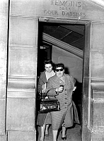 0134080 © Granger - Historical Picture ArchiveJACQUES FESCH.   Jacques Fesch's trial on april 2, 1957 : here his wife Pierrette Fesch and his mother Mrs Polack. On febraury 25, 1954, Jacques Fesch killed a policeman during a robbery, he will be guillotined on october 1st, 1957. Full credit: AGIP - Rue des Archives / Granger, NYC -- All rights r
