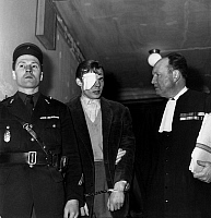 0134082 © Granger - Historical Picture ArchiveJACQUES FESCH.   cross- examination in Jacques Fesch affair : here his accomplice and his lawyer Marcepoil on march 3, 1954. On febraury 25, 1954, Jacques Fesch killed a policeman during a robbery, he will be guillotined on october 1st, 1957. Full credit: AGIP - Rue des Archives / Granger, NYC -- All Rights Reserved.