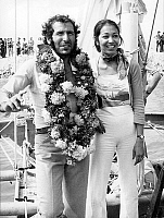 0134276 © Granger - Historical Picture ArchiveALAIN COLAS.   Alain Colas winner of transatlantic boat race, here at finish in Deauville with his fiance Teura august 25, 1972. Full credit: AGIP - Rue des Archives / Granger, NYC -- All Rights Reserved.