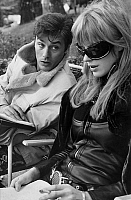 0134314 © Granger - Historical Picture ArchiveALAIN DELON AND MARIANNE FAITHFULL.   The actors Alain Delon (french) and Marianne Faithfull (english) on set of Girl on a motorcycle of JackCardiff take out of the book of AndrePierredeMandiargues in france, october 6, 1967. Full credit: AGIP - Rue des Archives / Granger, NYC -- All rights reserved