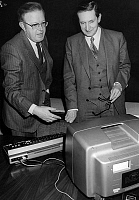 0134468 © Granger - Historical Picture ArchiveALBERT DUCROCQ.   french engineers Albert Ducrocq and Claude Flament inaugurating new device of communication in France may 1981. Full credit: AGIP - Rue des Archives / Granger, NYC -- All Rights Reserved.