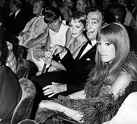 0134760 © Granger - Historical Picture ArchiveAMANDA LEAR.   l-r Gerard Oury Michele Morgan Sophie Litvak Mia Farrow Salvador Dali et Amanda Lear at a show on april 20, 1970. Full credit: AGIP - Rue des Archives / Granger, NYC -- All Rights Reserved.