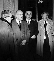 0134825 © Granger - Historical Picture ArchiveANDRE CHAMSON AND JEAN COCTEAU.   After election of Jean Paulhan at the Academie Francaise, Andre Chamson and Jean Cocteau are waiting to go at the reception, january 24, 1963. Full credit: AGIP - Rue des Archives / Granger, NYC -- All righ