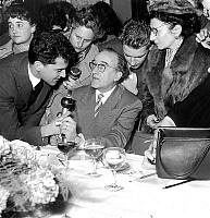 0134855 © Granger - Historical Picture ArchiveANDRE DHOTEL LAUREAT PRIZE FEMINA IN 1955.   The writer Andre Dhotel received Femina literary prize november 28, 1955. Full credit: AGIP - Rue des Archives / Granger, NYC -- All ri.