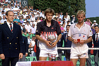0135020 © Granger - Historical Picture ArchiveANDREI CHESNOKOV.   soviet tennis champion Andrei Chesnokov here with prince Albert of Monaco (future Albert II) and Thomas Muster after final match in Monte Carlo 1990. Full credit: AGIP - Rue des Archives / Granger, NYC -- All rights rese