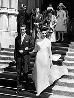 0135137 © Granger - Historical Picture ArchiveANNE OF FRANCE.   wedding of princess Anne of France, daughter of count-of-Paris, with Prince Carlos of Bourbon in Dreux may 12, 1945 out of the church are Henry of Orleans count of Paris (father of the bride) and Princess Alice of Bourbon Parma (mother of the groom). Full credit: AGIP - Rue des Archives / Granger, NYC -- All rights reserved.