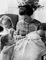 0135142 © Granger - Historical Picture ArchiveANNE OF FRANCE.   princess Anne of France, daughter of count-of-Paris, and wife of Prince Carlos of Bourbon here with her daughters Maria Paloma and Cristina, holding her newborn son Pedro in her arms, october 23, 1968 the day of christening of Pedro. Full credit: AGIP - Rue des Archives / Granger, NYC -- All Rights Reserved.