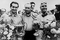0135633 © Granger - Historical Picture ArchiveASCARI, FANGIO AND FARINA.   l-r : racing drivers Alberto Ascari, Juan Manuel Fangio and Emilio Giuseppe Farina with their trophies, 50's. Full credit: AGIP - Rue des Archives / Granger, NYC -- All Rights Reserved.