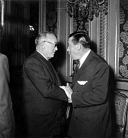 0135754 © Granger - Historical Picture ArchiveAURIOL AND FERNANDEL.   french president Vincent Auriol and actor Fernandel at Christmas party at Elysee Palace december 18, 1948. Full credit: AGIP - Rue des Archives / Granger, NYC -- All Rights Reserved.