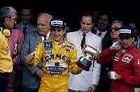 0135784 © Granger - Historical Picture ArchiveAYRTON SENNA.   Grand Prix of Monaco may 31, 1987 : winner Ayrton Senna, on r Nelson Piquet, behind : prince Rainier III of Monaco and prince Albert (future Albert II). Full credit: AGIP - Rue des Archives / Granger, NYC -- All rights reser