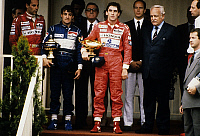 0135785 © Granger - Historical Picture ArchiveAYRTON SENNA.   Grand Prix of Monaco may 27, 1990 : Gerhard Berger, Jean Alesi et Ayrton Senna (winner), prince Albert of Monaco (future Albert II), prince Rainier III. Full credit: AGIP - Rue des Archives / Granger, NYC -- All rights reser