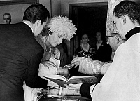 0135956 © Granger - Historical Picture ArchiveBAPTEME OF L'INFANTE CRISTINA D'ESPAGNE.   Baptism of princess Christina Federica, second daughter of princess Sophia and prince Juan Carlos (futur king of Spain) : here infante Dona Cristina holding the child, on her side is prince Alfonso of Bourbon on june 23, 1965. Full credit: AGIP - Rue des Archives / Granger, NYC -- All rights reserved.