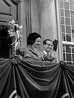 0136115 © Granger - Historical Picture ArchiveBAUDOUIN AND FABIOLA OF BELGIQUE.   King Baudouin 1st of Belgium and queen Fabiola during a visit in Liege, april 2, 1963 here at Ciry hall. Full credit: AGIP - Rue des Archives / Granger, NYC -- All rights reserved.