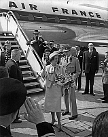 0136122 © Granger - Historical Picture ArchiveBAUDOUIN AND FABIOLA OF BELGIQUE IN FRANCE.   King Baudouin 1st of Belgium and queen Fabiola arriving at Orly airport, Paris, on may 24, 1961. Full credit: AGIP - Rue des Archives / Granger, NYC -- All rights reserved.