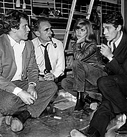 0136368 © Granger - Historical Picture ArchiveBERNARD FRESSON.   Bernard Fresson Henri Georges Clouzot Elizabeth Wiener and Laurent Terzieff on set of film La prisonniere september 26, 1967. Full credit: AGIP - Rue des Archives / Granger, NYC -- All rights reserved.