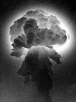 0136671 © Granger - Historical Picture ArchiveBOMBE ATOMIQUE.   Mushroom cloud of the explosion of the first french atomic bomb in Reggane, Sahara, Algeria on february 13, 1960 at the time of the war in Algeria. Full credit: AGIP - Rue des Archives / Granger, NYC -- All rights reserved
