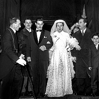 0136708 © Granger - Historical Picture ArchiveBOUGLIONE.   wedding of Firmin Bouglione and Emma Figuier on the right is Achille Zavatta january 11, 1955. Full credit: AGIP - Rue des Archives / Granger, NYC -- All rights reserv