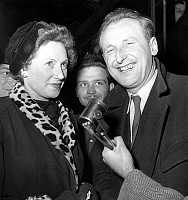 0136755 © Granger - Historical Picture ArchiveBOURVIL AND SA FEMME.   Bourvil and his wife Jeanne Lefrique back from America february 21, 1950. Full credit: AGIP - Rue des Archives / Granger, NYC -- All rights reserved.
