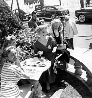 0136905 © Granger - Historical Picture ArchiveBRIGITTE FOSSEY A CANNES.   Renee Faure, Magali Vandeuil, Ann Baxter and young Brigitte Fossey at Cannes film festival april 18, 1953. Full credit: AGIP - Rue des Archives / Granger, NYC -- All Rights Reserved.