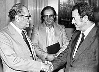 0136946 © Granger - Historical Picture ArchiveBRUNO KREISKY.   Austrian chancellor Bruno Kreisky with Palestinian minister of foreign affairs Farouk Kadoumi and agent Abdullah Frangi july 13, 1982. Full credit: AGIP - Rue des Archives / Granger, NYC -- All rights reserved.