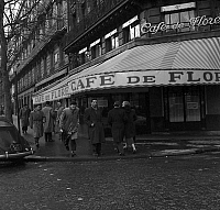 0137002 © Granger - Historical Picture ArchiveCAFE OF FLORE.   View of Cafe de Flore in Saint-Germain-des-Pres, Paris january 11, 1958. Full credit: AGIP - Rue des Archives / Granger, NYC -- All rights reserved.