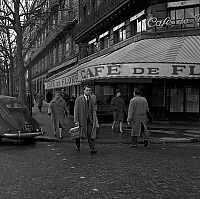 0137003 © Granger - Historical Picture ArchiveCAFE OF FLORE.   View of Cafe de Flore in Saint-Germain-des-Pres in Paris january 11, 1958. Full credit: AGIP - Rue des Archives / Granger, NYC -- All rights reserved.
