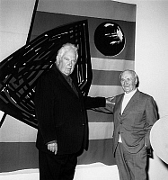 0137006 © Granger - Historical Picture ArchiveCALDER AND MIRO.   Alexander Calder and Jean Miro at the opening of the retrospective of Calder at the Maeght's foundation in Saint Paul de Vence 3th April 1963 Neg:D7845. Full credit: AGIP - Rue des Archives / Granger, NYC -- All rights re