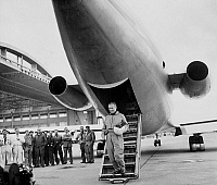 0137076 © Granger - Historical Picture ArchiveCARAVELLE.   2 jet engines caravel with Pierre Nadot, test pilot, may 27, 1955 the day of the first fly of the plane. Full credit: AGIP - Rue des Archives / Granger, NYC -- All rig