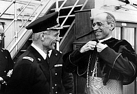 0137090 © Granger - Historical Picture ArchiveCARDINAL PACELLI.   Cardinal Pacelli future pope Pius XII aboard transatlantic liner Count of Savoy with Cdt Lena in Italy november 1936. Full credit: AGIP - Rue des Archives / Granger, NYC -- All Rights Reserved.